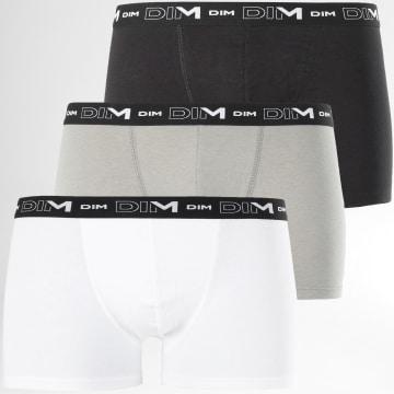 Dim - Lot De 3 Boxers D6596 Blanc Gris Noir