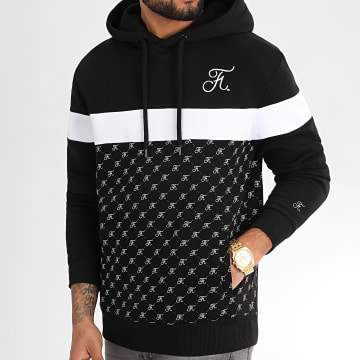 Final Club - Sweat Capuche Allover Tricolore Avec Broderie 333 Noir Blanc