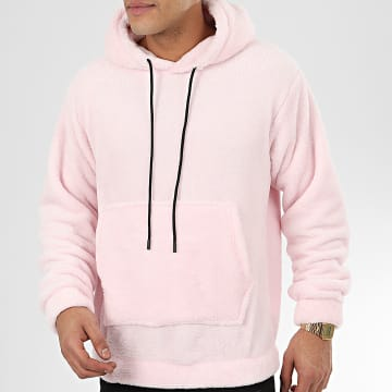 John H - Sweat Capuche Fourrure WY2019011 Rose Clair