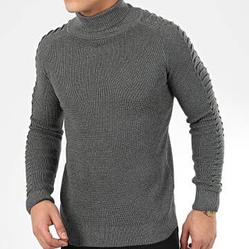 John H - Pull Col Roulé H-020 Gris Anthracite Chiné