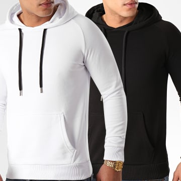 LBO - Lot De 2 Sweats Capuche 980 Noir Et Blanc