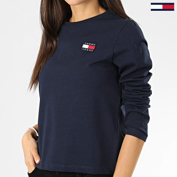 Tommy Jeans - Tee Shirt Manches Longues Femme Tommy Badge 7433 Bleu Marine