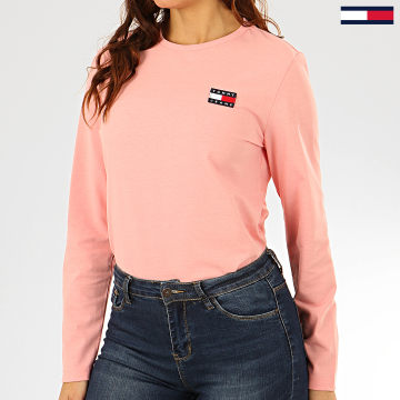 Tee Shirt Manches Longues Femme Tommy Badge 7433 Rose Clair