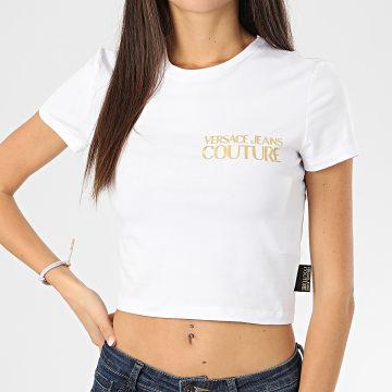 Versace Jeans Couture - Tee Shirt Crop Femme B2HVA720-10567 Blanc Doré