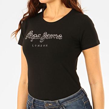 Tee Shirt Femme A Strass Beatrice Noir Argenté