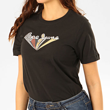 Pepe Jeans - Tee Shirt Femme A Paillettes Brioni Noir