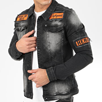 Uniplay - Veste Jean 190 Gris Anthracite Orange