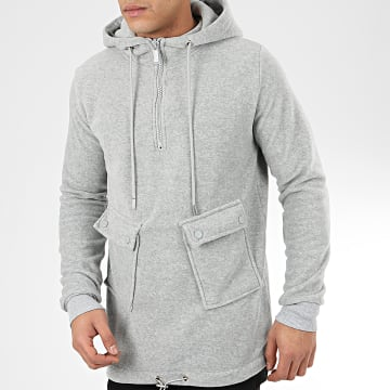 Uniplay - Sweat Col Zippé Capuche HD-21 Gris Chiné
