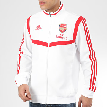 Adidas Performance - Veste Zippée A Bandes Arsenal Presentation EJ6291 Blanc Rouge