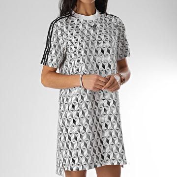 Robe Tee Shirt Femme A Bandes FM1069 Blanc Noir