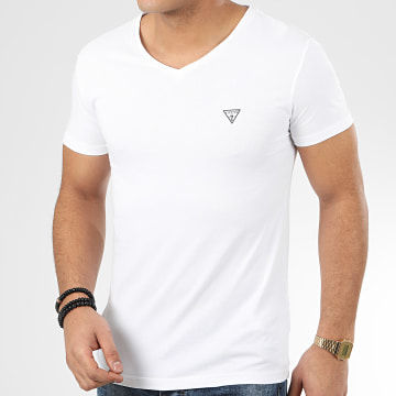 Guess - Tee Shirt Col V U97M01-JR003 Blanc