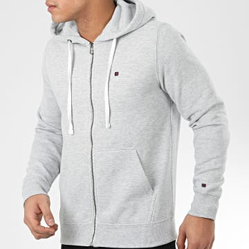 Teddy Smith - Sweat Zippé Capuche Gelly 3 Gris Clair Chiné