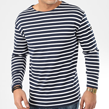 Tee Shirt Manches Longues A Rayures Ocean Bleu Marine Blanc