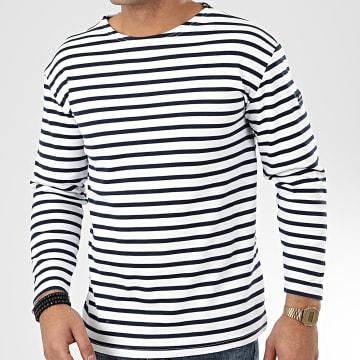 Tee Shirt Manches Longues A Rayures Ocean Blanc Bleu Marine