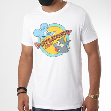 The Simpsons - Tee Shirt Itchy Et Scratchy Show Blanc