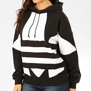 Adidas Originals - Sweat Capuche Femme Large Logo FS1308 Noir Blanc