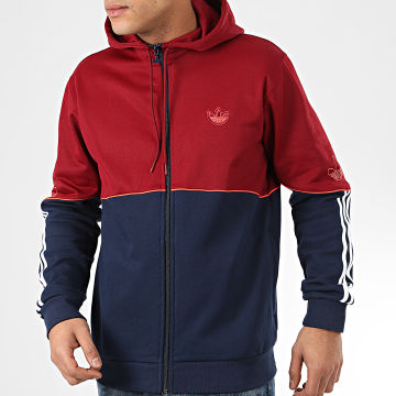Sweat Zippé Capuche Outline FZ FM3870 Bordeaux Bleu Marine