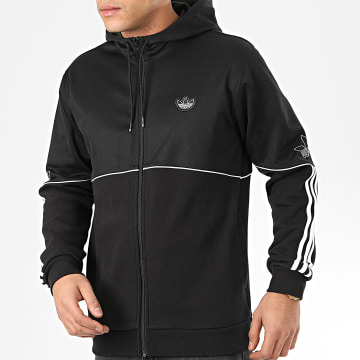 Sweat Zippé Capuche A Bandes Outline FM3871 Noir Blanc