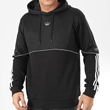 Sweat Capuche A Bandes Outline FM3886 Noir Blanc