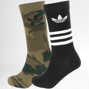 adidas - Lot De 2 Paires De Chaussettes Camouflage FM0675 Noir Vert Kaki