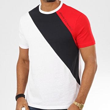 Tee Shirt Tricolore 3HZTFH-ZJH4Z Blanc Bleu Marine Rouge