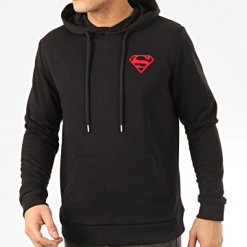 DC Comics - Sweat Capuche Logo Felt Noir Rouge