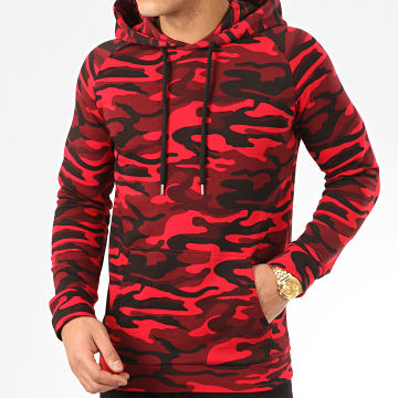 LBO - Sweat Capuche Raglan 958 Camouflage Rouge