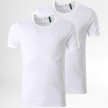 G-Star - Lot De 2 Tee Shirts Premium 1 By 1 D07205-124 Blanc