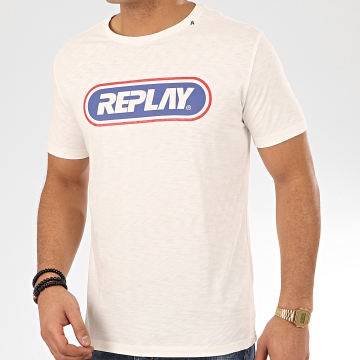 Replay - Tee Shirt M3028 Blanc Cassé Chiné