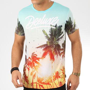 Deeluxe - Tee Shirt Floral Vivid Turquoise Orange