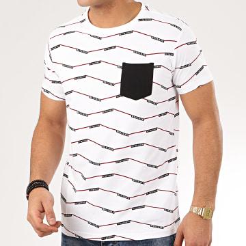 Deeluxe - Tee Shirt Poche A Rayures Keeper Blanc