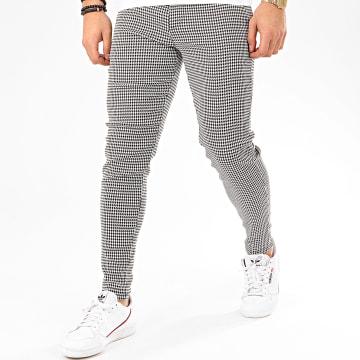 Pantalon Chino A Carreaux 1686 Blanc Noir