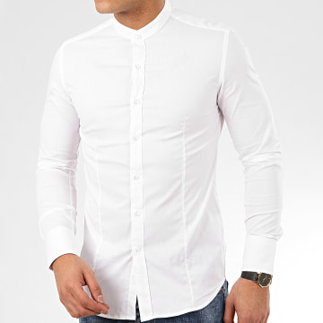 Chemise Manches Longues Col Mao NS-7229 Blanc