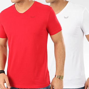 Kaporal - Lot De 2 Tee Shirts Gift Rouge Blanc