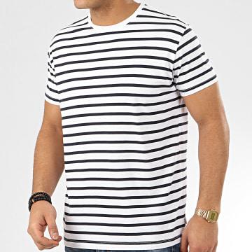 Esprit - Tee Shirt 990EE2K314 Blanc Bleu Marine