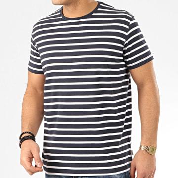 Esprit - Tee Shirt 990EE2K314 Bleu Marine Blanc