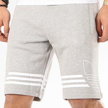 Short Jogging Outline Trefoil ED4697 Gris Chiné Blanc