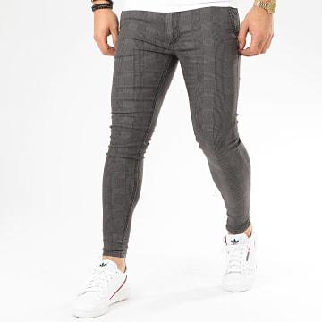 GRJ Denim - Pantalon A Carreaux Skinny 14236 Gris Anthracite