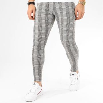 Pantalon A Carreaux Slim 14235 Gris