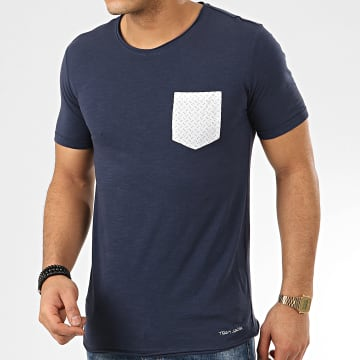 Teddy Smith - Tee Shirt Poche Turos Bleu Marine Chiné