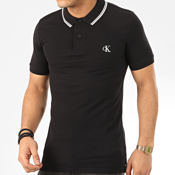 Polo Manches Courtes Essential Tipping 4565 Noir