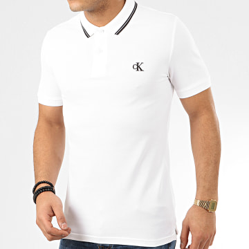 Calvin Klein - Polo Manches Courtes Essential Tipping 4565 Blanc