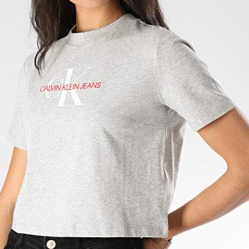 Calvin Klein - Tee Shirt Femme Crop Monogram Modern Straight 3692 Gris Chiné