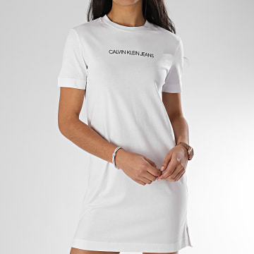 Calvin Klein - Robe Tee Shirt Femme Institutional 3702 Blanc