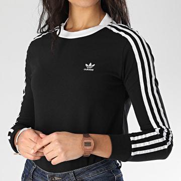 Tee Shirt Femme Manches Longues A Bandes 3 Stripes FM3301 Noir