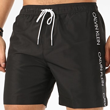 Calvin Klein - Short De Bain A Bandes Medium Drawstring 0434 Noir
