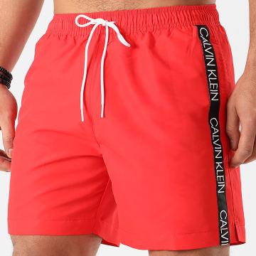 Calvin Klein - Short De Bain A Bandes Medium Drawstring 0434 Rouge