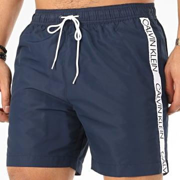 Calvin Klein - Short De Bain A Bandes Medium Drawstring 0434 Bleu Marine