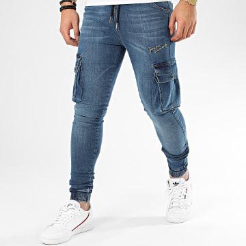 Gianni Kavanagh - Jogger Pant Jean Skinny Dark Blue Cargo GKG002323 Bleu Denim Doré