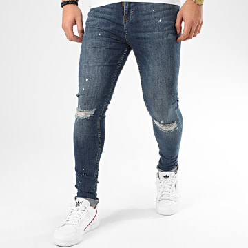Jean Skinny White Splashes GKG002310 Bleu Denim